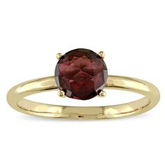 Miadora Garnet Solitaire Cocktail Ring in Rose Plated Sterling Silver (Size 10), Women's, Red