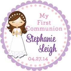 My First Communion Personalized Stickers - Party Favor Labels, Holy Communion, Primera Comunion - Size Choice on Etsy, $6.20