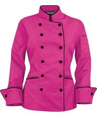 Women's Traditional Chef Coats - Contrast Piping - Fabric Covered Buttons - 100% Cotton