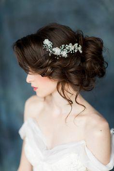 Silk Flower Silver Bridal Hair Vine, Ivory Hair Vine, Wedding Headpiece, Bridal Hair Comb, Flower Hairpiece, Gold Crystal Headpiece LUCILLA