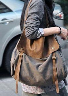 Waxed Canvas and Leather Messeneger Bag – LadyBagsSF.com Canvas Handbags, Tote Handbags, Sac Vanessa Bruno, Laptop Shoulder Bag, Shoulder Bags, Look 2018, Moda Boho, Big Bags, Canvas Leather