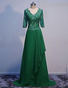 A-line Mother of the Bride Dress - Green Floor-length Half S... – USD $ 129.99