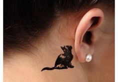 21 Behind-the-ear Tattoo Ideas Cat tattoo – Fashion Tattoos Pretty Tattoos, Love Tattoos, Beautiful Tattoos, New Tattoos, Body Art Tattoos, Small Tattoos, Tattoos For Guys, Tattoos For Women Cat, Subtle Tattoos