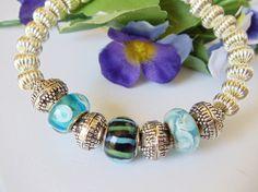 Blue Green Lampwork and Silver Bangle Bracelet by simplysuzie2, $25.00