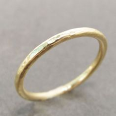 18k Gold Wedding Ring  Simple Hammered Gold Band by LilianGinebra, $269.00