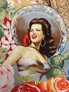 Pin Up Sexy Girl Fabric