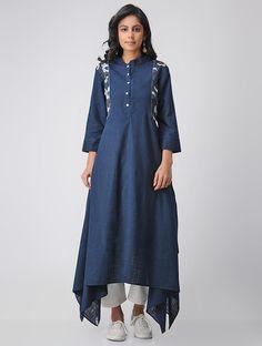 Blue Cotton Kantha Kurta with Asymmetrical Hem Pakistani Party Wear Dresses, Pakistani Outfits, Indian Dresses, Kurta Designs Women, Blouse Designs, Linen Dresses, Cotton Dresses, Simple Dresses, Casual Dresses