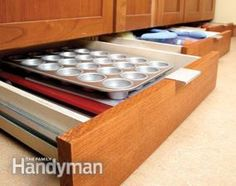 Add pull out pantry shelves to your kitchen storage cabinets to max storage space, provide easier access and save your back with pull out drawers. Kitchen Storage Solutions, Kitchen Cabinet Storage, Storage Cabinets, Oven Cabinet, Kitchen Organizers, Kitchen Cabinets, Diy Kitchen, Kitchen And Bath, Kitchen Design