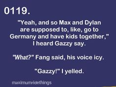 Maximum Ride~ when fang came back home.... i was in tears the first time i read that part, then this cracked me up!