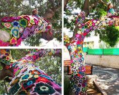 """The Flower Tree""...Yarn Bomb in Israel!"