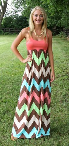 Coral Chevron Tank Maxi. LOVE THIS!!!