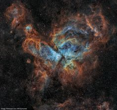 The Eta Carinae Nebula shot with narrowband filters and processed using the Hubble palette. Solar Nebula, Orion Nebula, Helix Nebula, Carina Nebula, Andromeda Galaxy, Hubble Space Telescope, Space And Astronomy, Eta Carinae, Earth Gravity