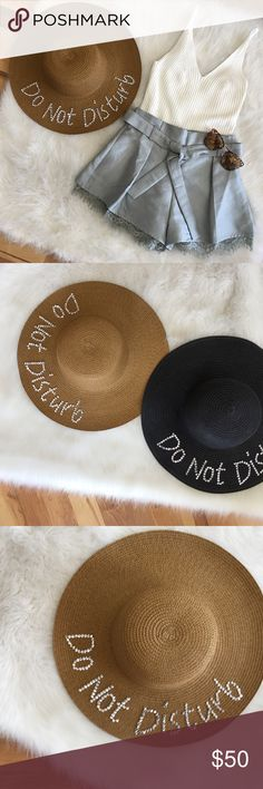 Tan Do Not Disturb beach hat with rhinestones Tan Do Not Disturb beach hat with rhinestones writings. Available in black as well. Accessories Hats
