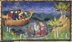 Detail of a miniature of Alexander exploring the ocean in a glass barrel, accompanied by a cat and a cock; in this version of the story, his unfaithful wife tries to murder him by cutting the cord connecting him with the ship, and it is by killing the cat (not a dog) that he is able to rise to the surface; from Le livre et le vraye hystoire du bon roy Alixandre, France (Paris), c. 1420, Royal MS 20 B. xx, f. 77v.  (article by Nicole Eddy, British Library, click through)