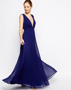 ASOS Deep Plunge Super Full Pleated Maxi Dress