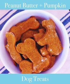 Easy Peanut Butter + Pumpkin Dog Treat Recipe #glutenfree #dog #treats