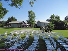 Chairs set up in curved rows for an outdoor summer wedding ceremony at Lenora's Legacy Estate. www.lenoraslegacy.com