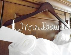 Hanger one Line personalized Custom Bridal by BellsAndKisses, $19.99