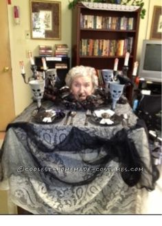 Head on a Platter Wheelchair Costume for 99 Year Old Granny! ...This website is the Pinterest of birthday cakes