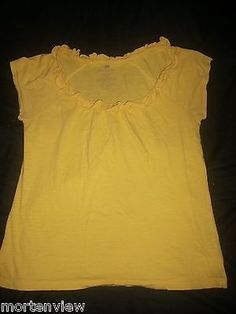 Womens Banana Republic Yellow Summer Knit Ruffle Cap Sleeve Top Med Fall Spring | eBay