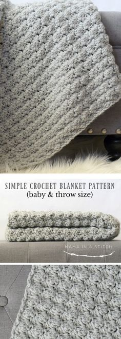 Easy Crochet Afghans I love the simplicity of this beautiful crochet blanket. Free pattern for a baby afghan or throw size. Crochet Afghans, Motifs Afghans, Easy Crochet Blanket, Crochet For Beginners Blanket, Crochet Blankets, Crochet Baby Blanket Patterns, Easy Baby Blanket, Crotchet Baby Blanket, Afghan Blanket