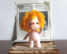 Vintage Crochet Itty Bitty Mitzies Crochet Pattern and 6 inch Itty Bitty Mitzy Standing Orange-Yarn Hair Doll is so adorable--just waiting for you to crochet her a dress or play suit. She has an adorable pink nose, deep blue eyes, and a winning smile. by NookCove, $17.49