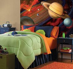 Fun Kid's Space Themed Bedroom Design Ideas. Find and save ideas about Space theme bedroom in this article.
