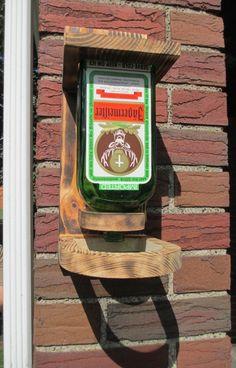 WOOD BIRD FEEDER Upcycled Vodka Rum Whiskey Liquor Bottle - Jagermeister