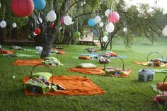 an outdoor wedding, instead of having tables, set up picnic blankets. For an outdoor wedding, instead of having tables, set up picnic blankets. Wedding Themes, Diy Wedding, Rustic Wedding, Dream Wedding, Wedding Decorations, Wedding Ideas, Wedding Picnic, Picnic Weddings, Forest Wedding