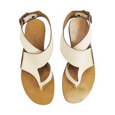 Flat Thong Sandals in Dirty White ($210) ❤ liked on Polyvore featuring shoes, sandals, flats, sapatos, women, flat leather sandals, flat pumps, white leather sandals, white thong sandals and flat sandals