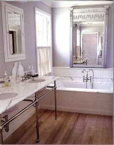 Classic marble bathroom with European Country Interior Design by Jane Moore. Lavender Bathroom, Purple Bathrooms, Bathroom Colors, Country Interior Design, Bathroom Interior Design, Country Interiors, Bathroom Designs, Bathroom Renos, Small Bathroom