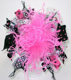 Rockin Skulls and Bling Over the Top Hair Bow with by sanchezc30, $19.99