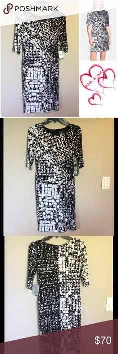 Adrianna Papell Print Gathered Jersey Sheath Dress Gleaming hardware at the front gathers the fluid stretch jersey to sculpt a waist-defining silhouette for a three-quarter-sleeve sheath. A graphic black-and-white print adds eye-catching dimension. Hidden back-zip closure. Fully lined. 95% polyester, 5% spandex. Adrianna Papell Dresses