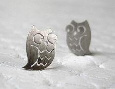 Owl Earrings - Owl Jewelry in sterling silver - Handmade Cute Earrings
