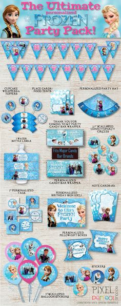 PERSONALIZED Frozen Party Pack, Frozen Party Supplies, Disney Frozen Party, Frozen Birthday, Disney Birthday, Frozen Birthday Party, Frozen