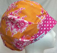 84b4e7920f3 Bouffant Surgical Scrub Cap for Women Scrub Hats Medical Hat Surgery Caps  Scrub Tech OR Nurse Orange Roses Pink dot Headband