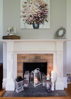 Gorgeous Fireplace Display With Gray Walls Traditional White Mantle Exposed Brick And Gl Lanterns