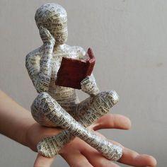 Reading woman, papier mache sculpture, collectible item, ooak sculpture, shelf decor, cross legged sitting woman by MadHippoArt on Etsy