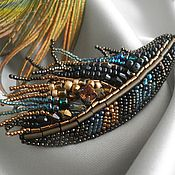 Perot Sunbird Feather Brooch, handmade by Christine Yap. I think I would wear it with the loose drops down.