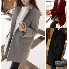 Fashion Women Ladies Warm Wool Long Coat Winter Jacket Trench Overcoat Outwear | eBay