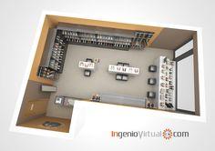 En esta #infografía de la vista en corte de un local comercial en #3D, se puede ver la disposición de los elementos y el #mobiliario de #diseño.