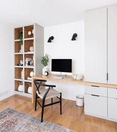 simple modern home office design // built in desk with shelves and cabinets Home Office Organization, Home Office Decor, Home Decor, Office Ideas, Office Interior Design, Office Interiors, Industrial Office Design, Cool Office Space, Desk Office