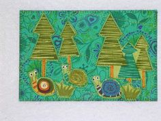 Nature Forest Art Quilt 4 x 6. $7  http://www.etsy.com/listing/91662260/nature-forest-art-quilt-4-x-6-snail