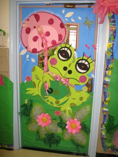 decorated door Outsen Outsen Girard and Milsaps L Robledo. but perhaps a little less cluttered. Frog Theme Preschool, Frog Theme Classroom, Preschool Door, Classroom Door, Classroom Displays, Preschool Crafts, Future Classroom, School Decorations, School Themes
