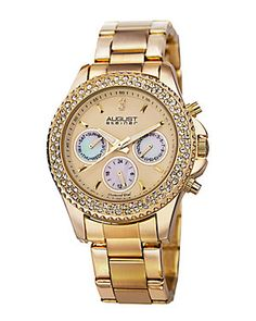 August Steiner Women's Stainless Steel Diamond Watch