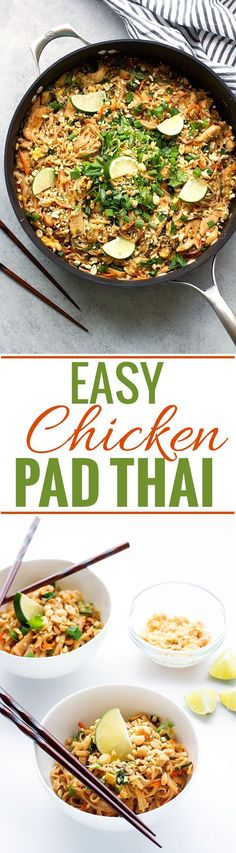 Easy Chicken Pad Thai Recipe - this takes 30 minutes to make and is so GOOD! #padthai #thaifood