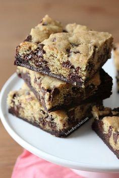 Chocolate Chip Cookie Brownie Bar Recipe - bakedbyrachel.com
