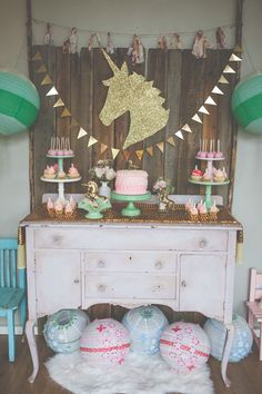 Shabby Chic Unicorn Birthday Party captured by Heather Lynn Photographie and styled by Mariah Rainier Style. Pretty party sweets by Turquoise & Pink. See the full party featured on the Kate Aspen blog!