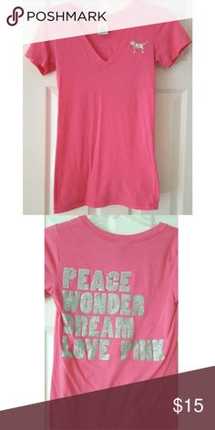 VICTORIA'S SECRET PINK Bling T-shirt Peace XS Rare VICTORIA'S SECRET PINK hot pink bling v-neck tee 💖💜 Peace Wonder Dream Love Pink on the back in sequins and glitter! Size extra small. Some pilling from wash/ wear. PINK Victoria's Secret Tops Tees - Short Sleeve