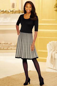 Double Knit Chevron Pattern Sweater Dress: Classic Women's Clothing from #ChadwicksofBoston $59.99